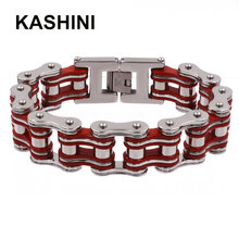 Punk stainless steel 316L bicycle chain red color bracelet motorcycle hand mens knight jewelry gift