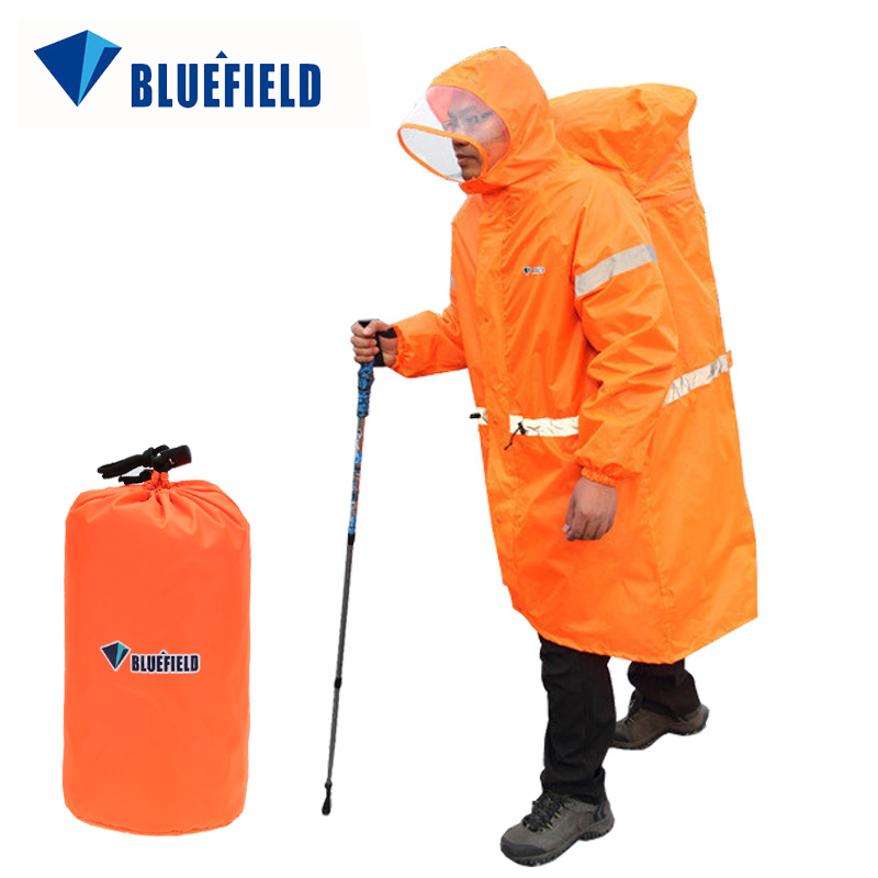 Bluefield Unisex Reflective Outdoor Backpack Raincoat Rain Cover One-piece Rain Poncho Cape Jacket For Hiking Camping Cycling(China)