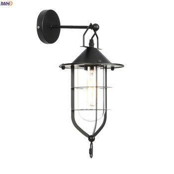 IWHD американский кантри стеклянный светодиодный настенный светильник, Светильники для прихожей, лестницы, крыльца, лофт, промышленный декор...