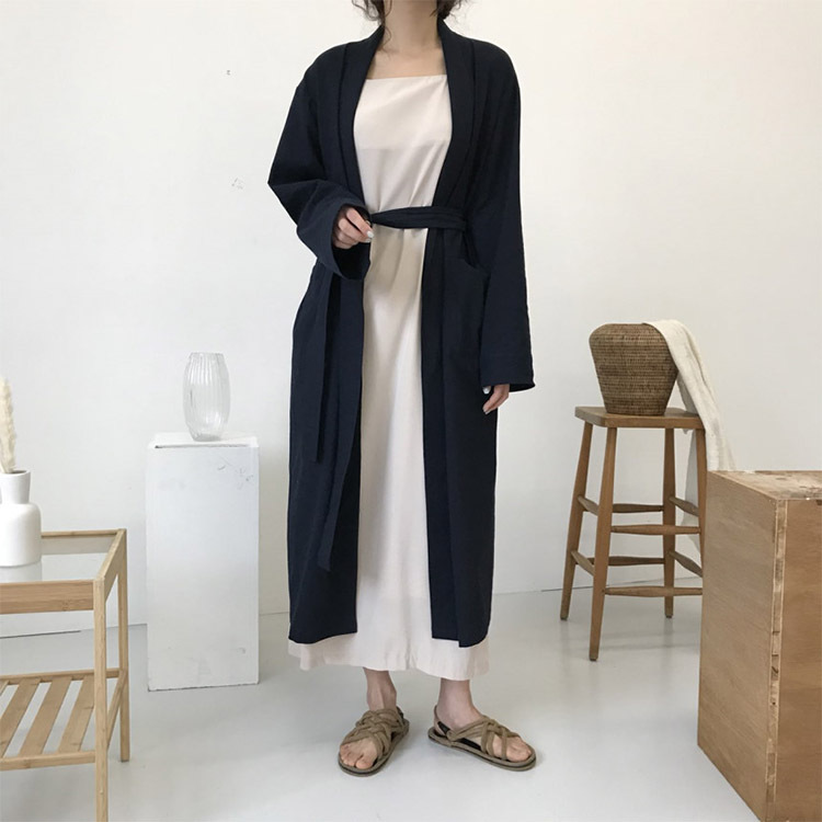 2018 New Autumn Brief Loose   Trench   Women Elegant Wide-waisted Turn-down Collar Belt   Trench   Coat Long Overcoat Windbreaker   Trench
