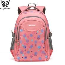 Baijiawei impreso niños del bolso de escuela niños mochila bolsa de la escuela de moda casual bolsas de viaje mochilas impermeables para niñas adolescentes