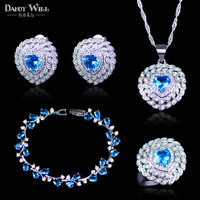925 Stamp Silver Color Costume Jewelry Fashion Light Blue CZ Crystal Pendant Necklace Earring Ring Bracelets