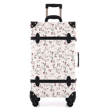 hot deal buy 2018 new women floral travel luggage retro suitcase spinnner travel luggage bag rolling floral flower printed digital