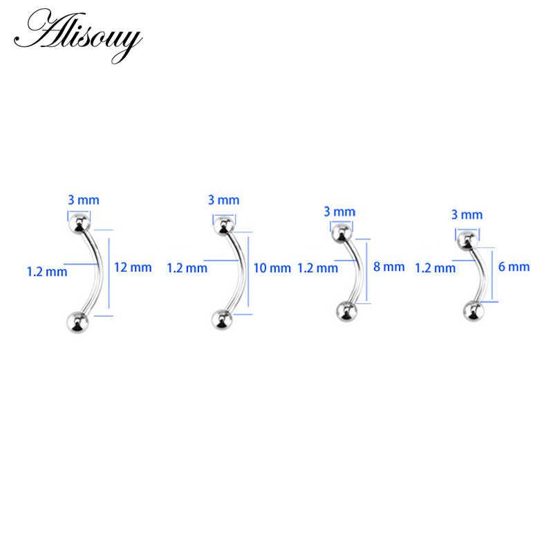 Alisouy 1 adet 6/8/10/12mm 16G cerrahi çelik 3mm top kaş Piercing kavisli halter dudak yüzük rahat Daith sarmal kale küpe