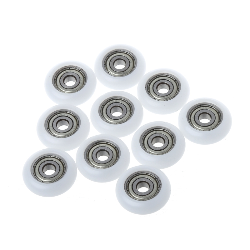 10pcs 5*23*7mm Nylon Plastic Carbon Steel Bearings Pulley Wheels Embedded Groove Suitable For Furniture Hardware Accessories