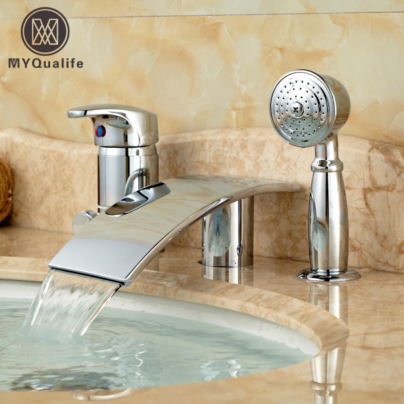 Chrome Finish Waterfall Spout Bath Tub Mixer Water Faucet Single Handle Deck Mount Bath Shower Mixer Tap 3PCS china sanitary ware chrome wall mount thermostatic water tap water saver thermostatic shower faucet