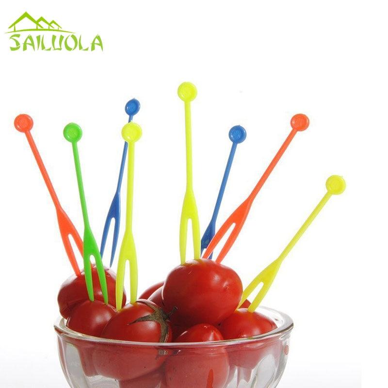 100pcs/lot Disposable Plastic Fruit Fork Mmulticolour ...