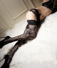 Small Mesh Hollow Out Lace Floral Pattern Thin Sexy Women Adult Stockings Over Knee Thigh