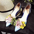Fashion Pearl Flowers Women Pumps 2016 New Suede Leather Low Heels Wedding Shoes Woman Sexy Pointed Toe Women Pumps Blue Shoes