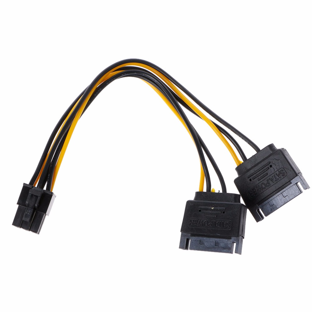 Cable Length: 15cm, Color: Black Connectors Dual Two SATA 15 Pin Male M to pcie pci Express pci-Express PCI-e Express Card 6 Pin Female Graphics Video Card Power Cable 15cm