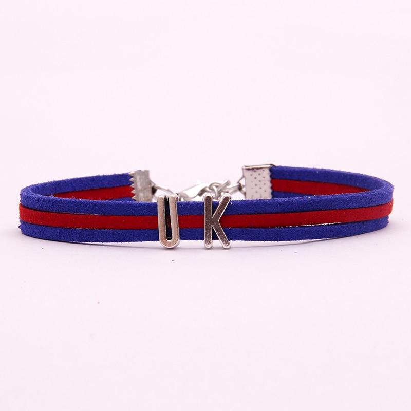 Kingdom Hearts Charm Bracelet: (10Pcs/Lot) Infinity Love National Flag UK Bracelet The