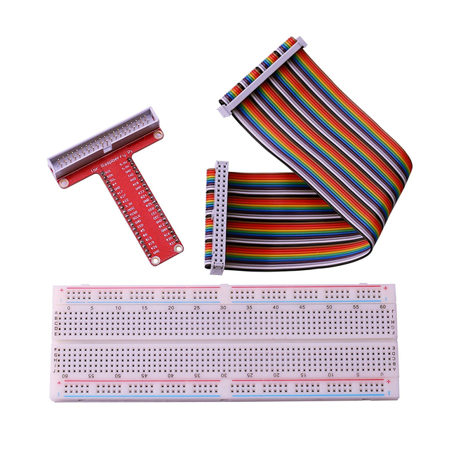 830 tie-points breadboard + 40Pin Rainbow Cable + GPIO T-Cobbler Plus Breakout Board Kit for Raspberry Pi B+ and Models 2 & 3 B