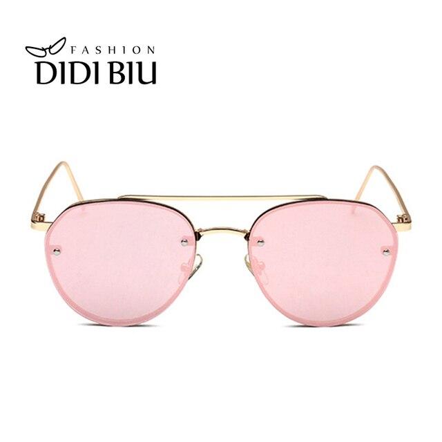 f6177410b DIDI Hipster Óculos de Sol Das Mulheres Designer De Marca Sem Aro Redondo  Amarelo Lente Transparente