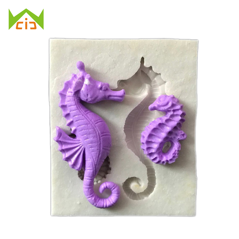 WCIC DIY Hippocampus Sugarcraft Fondant Silicone Mold Cake Decorating Mold Cake Molding 3D Sea Horse Silicone Mould