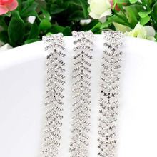 1Yard Rhinestone Trimmings Diamante Chain For Dresses Crystal Beaded Trim Hair Jewelry AIWUJIA