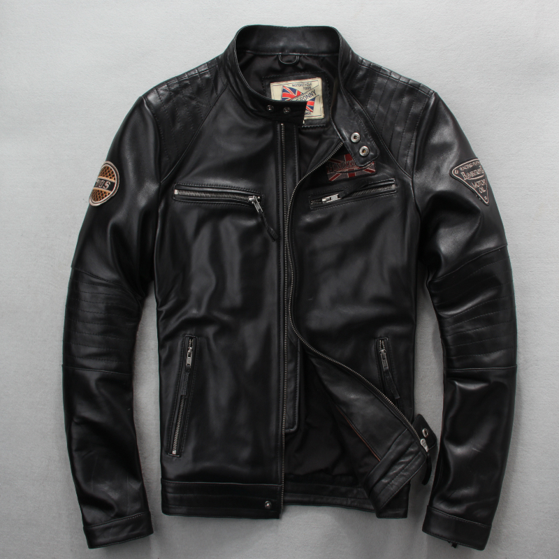 Free Shipping.wholesales,Genuine Leather Jacket,motor Biker Jacket For Man.black Slim Sheepskin Coat.sales Plus Size Cool