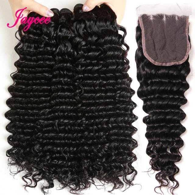 Cabello Jaycee con cierre paquetes de onda profunda malayo con cierre Remy cabello humano paquete con cierre 4*4 gratis parte de cierre de encaje