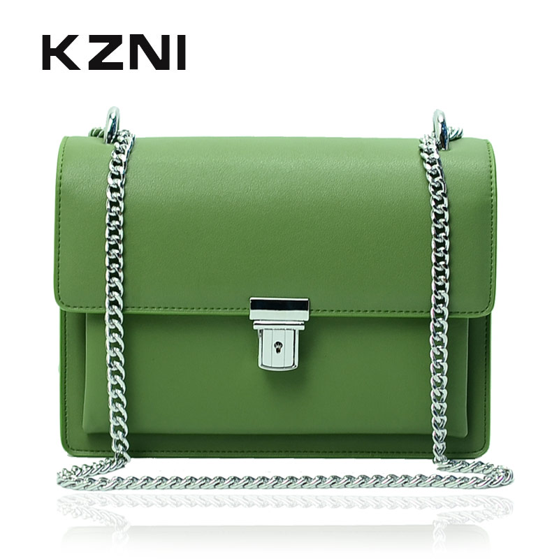 KZNI Real Leather Women Bag with Chain Genuine Leather Crossbody Bags for Women Fashion Handbags 2017 Sac a Main Pochette 9002 kzni genuine leather top handle bags rivet crossbody bag with chain women leather handbags sac a main pochette sac fem 1427 1428