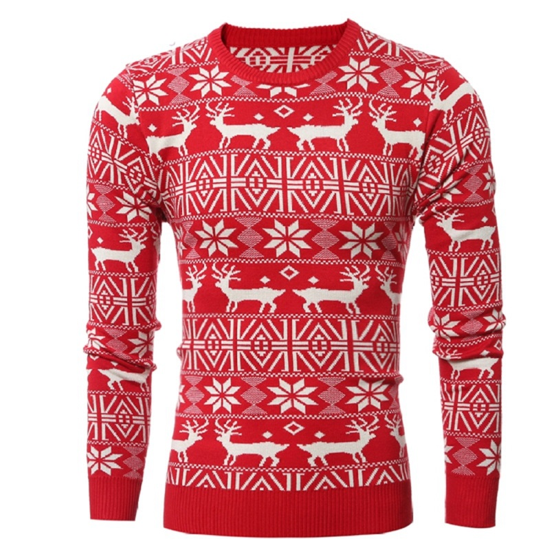 2017 г. новые зимние Для мужчин S толстые Мода Теплый Рождественский свитер с принтом оленя Повседневное пуловеры; свитеры Для мужчин