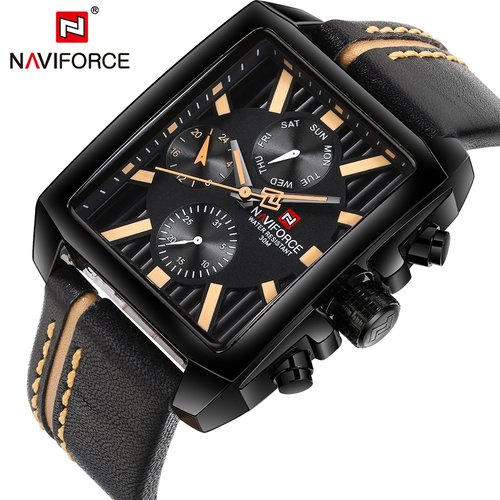 NAVIFORCE Mens Watches Top Brand Luxury Sport Military Men Watch Waterproof Leather Quartz Watch Rectangle Relogio MasculinoNAVIFORCE Mens Watches Top Brand Luxury Sport Military Men Watch Waterproof Leather Quartz Watch Rectangle Relogio Masculino