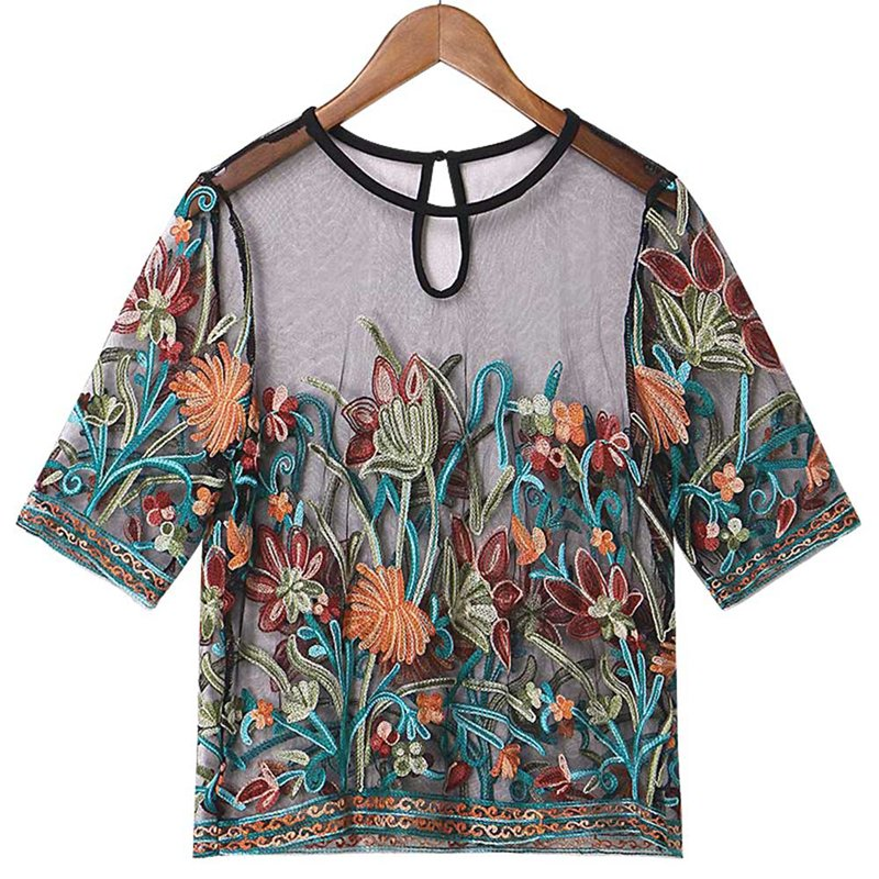 2018 Sexy Blouses for Women Buttoned Keyhole Embroidered Mesh Patchwork Top Summer Multicolor Short Sleeve Blouse