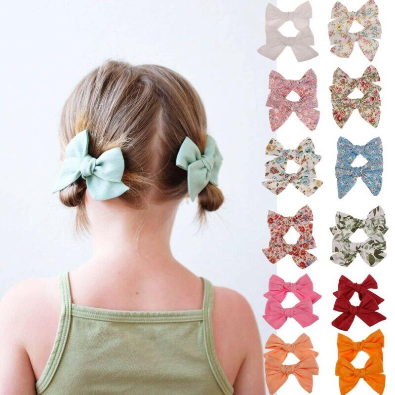 2Pcs Teens Big Hair Bows Knot Hair Clips Girls Kids Toddler Cotton Headband Sets