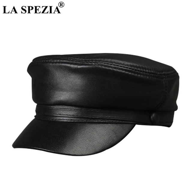LA SPEZIA Black Army Hat Women Genuine Leather Casual Military Caps Men  Vintage Real Leather Luxury Brand Classic Flat Top Caps c354408c1