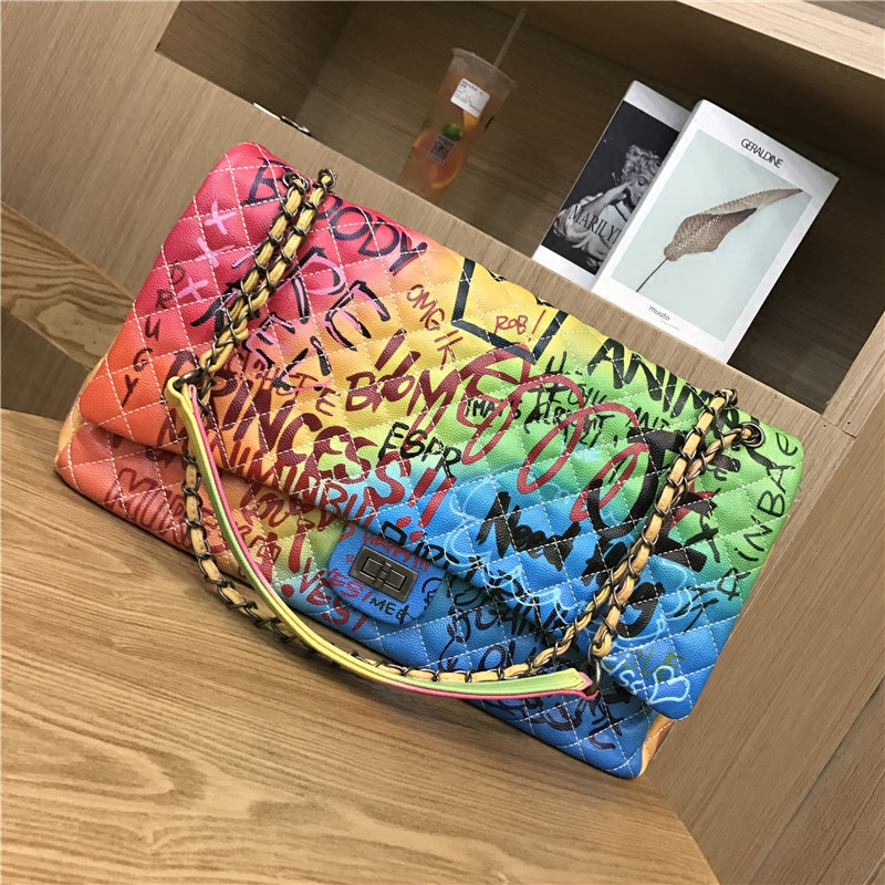 Image 4 - women's bags graffiti messenge bags Super large capacity travel luxury handbags women Famous brand bags designer tote bag 2019-in Top-Handle Bags from Luggage & Bags