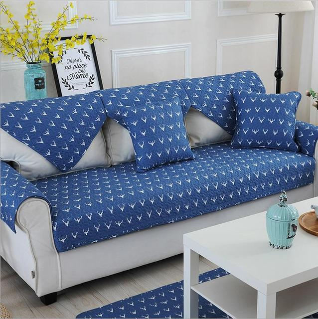1 Piece Sofa Cover Modern Style Blue Printing Soft Slip Resistant Slipcover Seat Couch