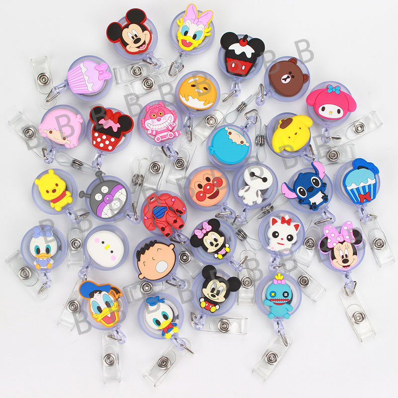 Cute Cartoon Retractable Badge Reel The New Student Nurse Exihibiton ID Name Card Badge Holder Office Stationery Supply