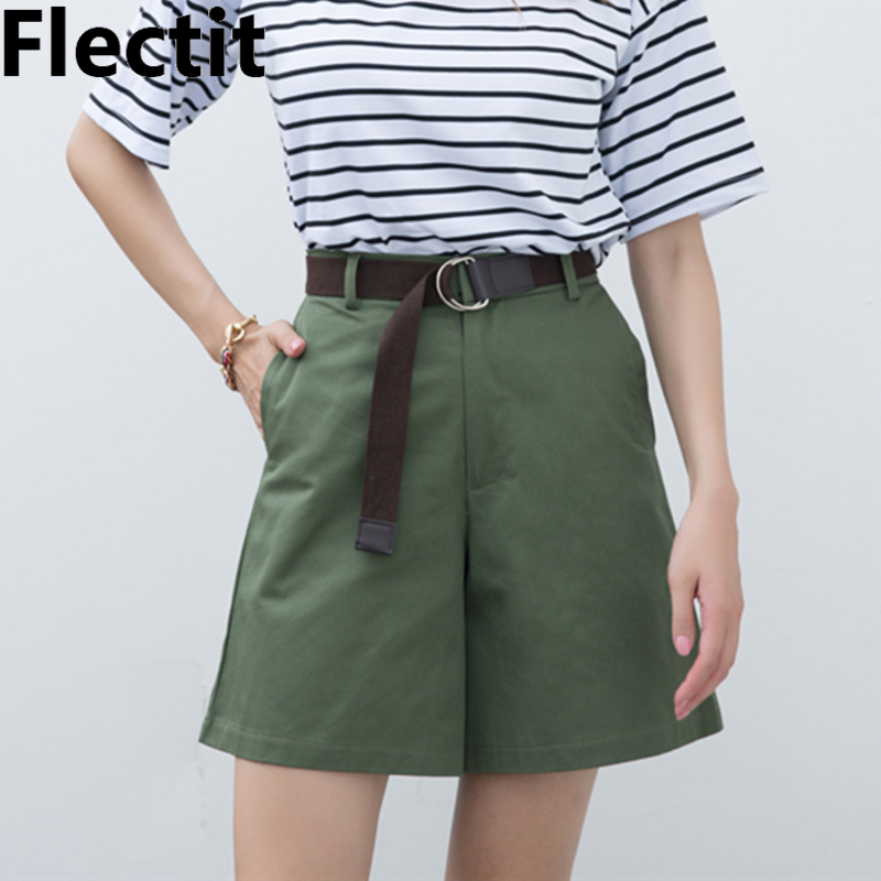 Flectit Women Bermudas High Waist Wide Legs Womens Summer Shorts Chic Shorts Casual Outfit Plus Size S- XXL
