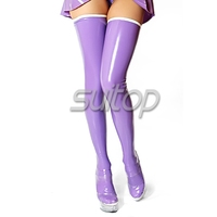 Purple Long Latex Stocking Teen With White Border