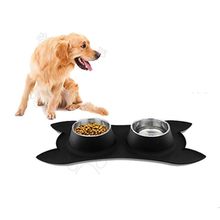 Fashion Pet Dog Feeders Stainless Steel Double Mouth Silica Gel Bone Type Bowl for Small and Medium Supplies