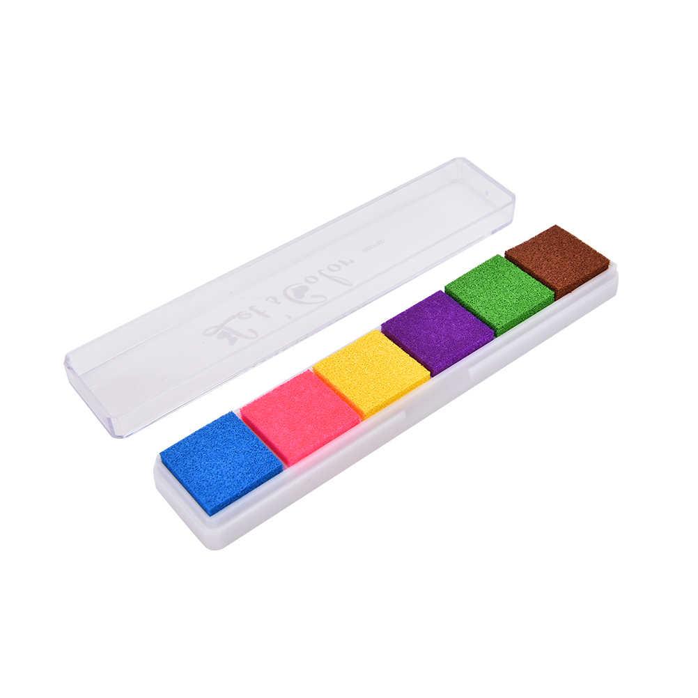 1 מארז 6 צבעים DIY כרטיס חותמת טביעת אצבע אביזרי חותמות גומי לילדים לילדים כרית דיו נייר עץ שאינו רעיל כרית דיו