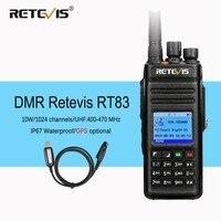 Retevis RT83 10 Вт DMR радио цифровой двухстороннее радио Walkie Talkie (gps) УВЧ VOX IP67 водонепроницаемое Любительское радио Амадор ФИО Comunicador + кабель