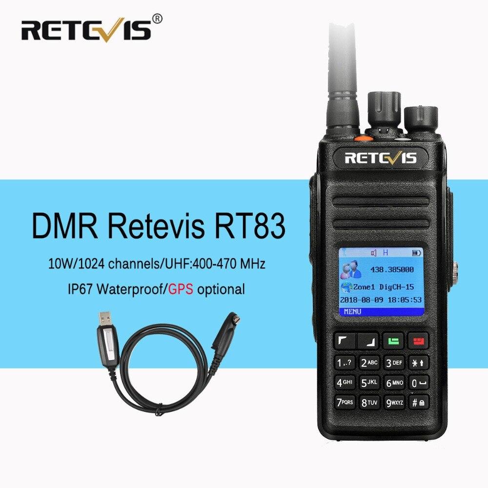 Retevis RT83 10W DMR Radio Digital Two Way Radio Walkie Talkie (GPS) UHF VOX IP67 Waterproof Ham Radio Amador Comunicador+Cable
