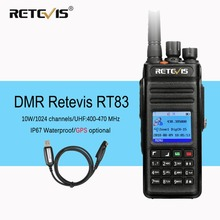 Retevis RT83 10W DMR Radio Digital Two Way Radio Walkie Talkie (GPS) UHF VOX IP67 Waterproof Ham Radio Amador Comunicador+Cable