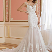 wei yin Weiyin V Neck Mermaid Wedding Dress Sleeveless