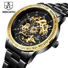2017 New Black Men Skeleton Stainless Steel Bracelet Antique Steampunk Automatic Mechanical Skeleton Men's Casual Watches