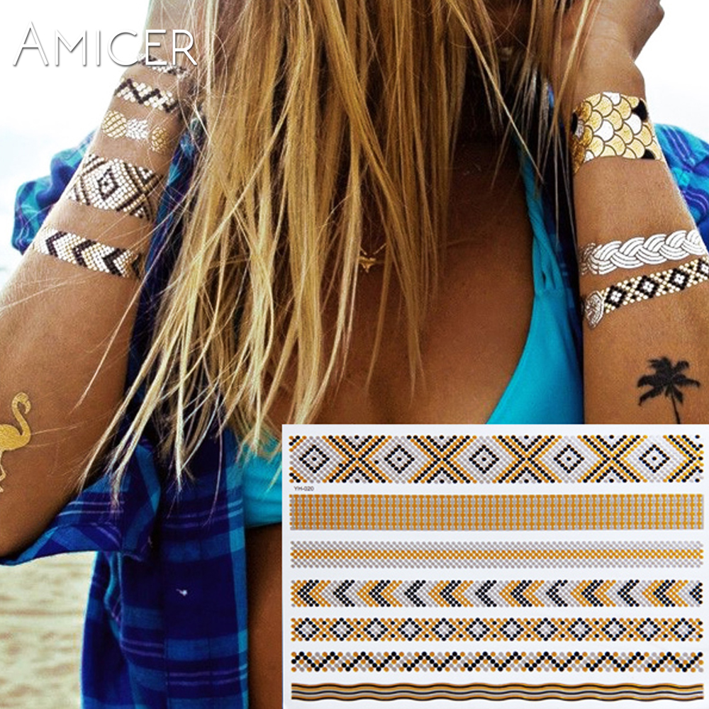 New Waterproof Metallic Gold Silver Body Art Temporary Tattoo Sexy Flash Tattoos Sticker Free Shipping For Chains And Bracelets
