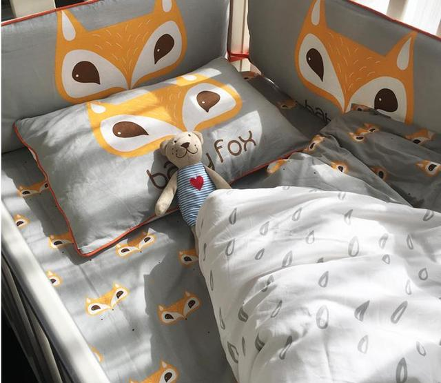 Nordic Style Fox Pattern Baby Bedding Sets Cotton Cartoon  Crib Bumpers Quilt Cover Pillow Case Bed Sheet Baby Bed Bumper