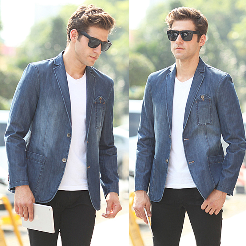 Spring Autumn Men's Fashion Slim Fitted Blue Denim Blazer Coat ...