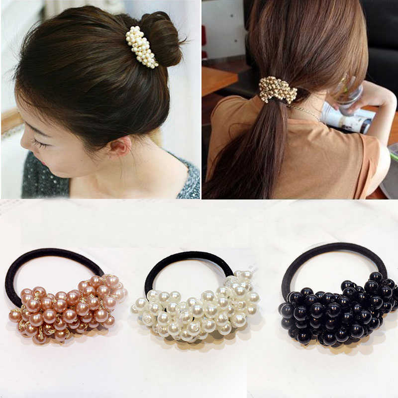 Women Hair Accessories Pearls Beads Headbands Ponytail Holder Girls Scrunchies Vintage Elastic Hair Bands Rubber Rope Headdress