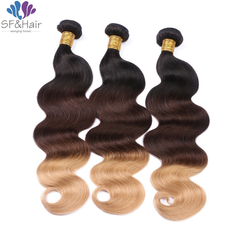 #T1B/4/27 Ombre Hair Bundles Queen Hair Brazilian Body Wave Hair Weft 3 Bundles Ombre Honey Blonde Brazilian Hair Extensions