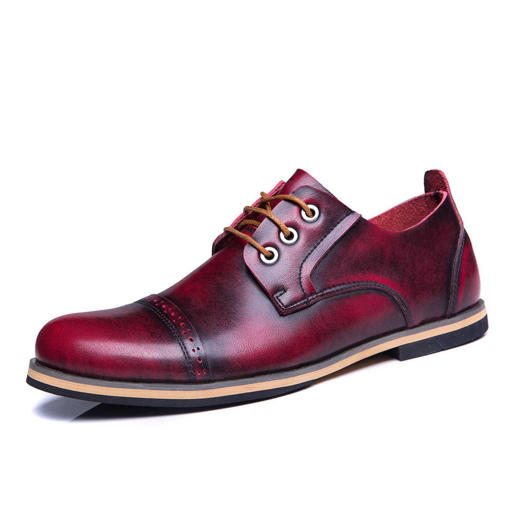 2017 new europe style plus size 45 46 47 Men 's shoes fashion tide casual shoes man work leather shoes retro color rub hot 2017 new style europe