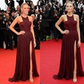 Blake Lively 2016 Long Burgundy Celebrity Dresses Red Carpet Dress Halter Chiffon Split Formal Evening Gown Vestidos De Festa