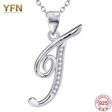 YFN Joyería de Plata Esterlina 925 Un Colgante Collar de la Letra T de Plata Encanto az Inicial Del Nombre de Letras Del Alfabeto Colgante GNX12660