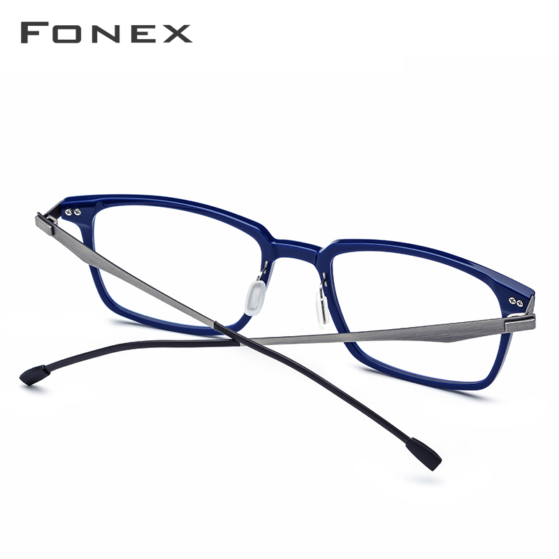 Image 4 - FONEX Acetate Optical Glasses Frame Men Square Prescription Eyeglasses 2019 Commerce Myopia Spectacles Male Screwless Eyewear-in Men's Eyewear Frames from Apparel Accessories