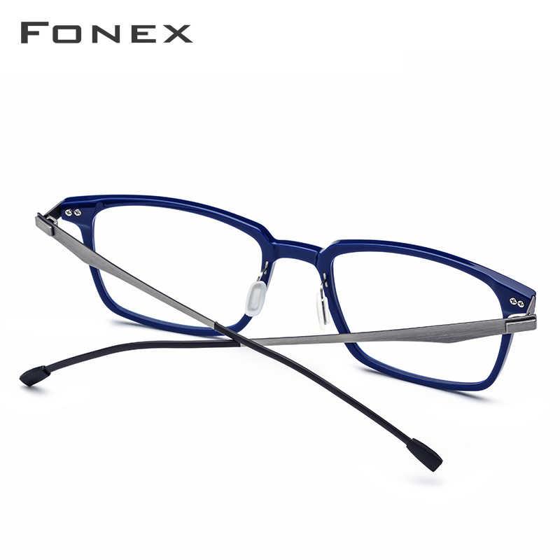 Fonex armação de óculos ótico de acetato, masculino, quadrado, prescrição, óculos de grau para miopia 2019, sem parafusos