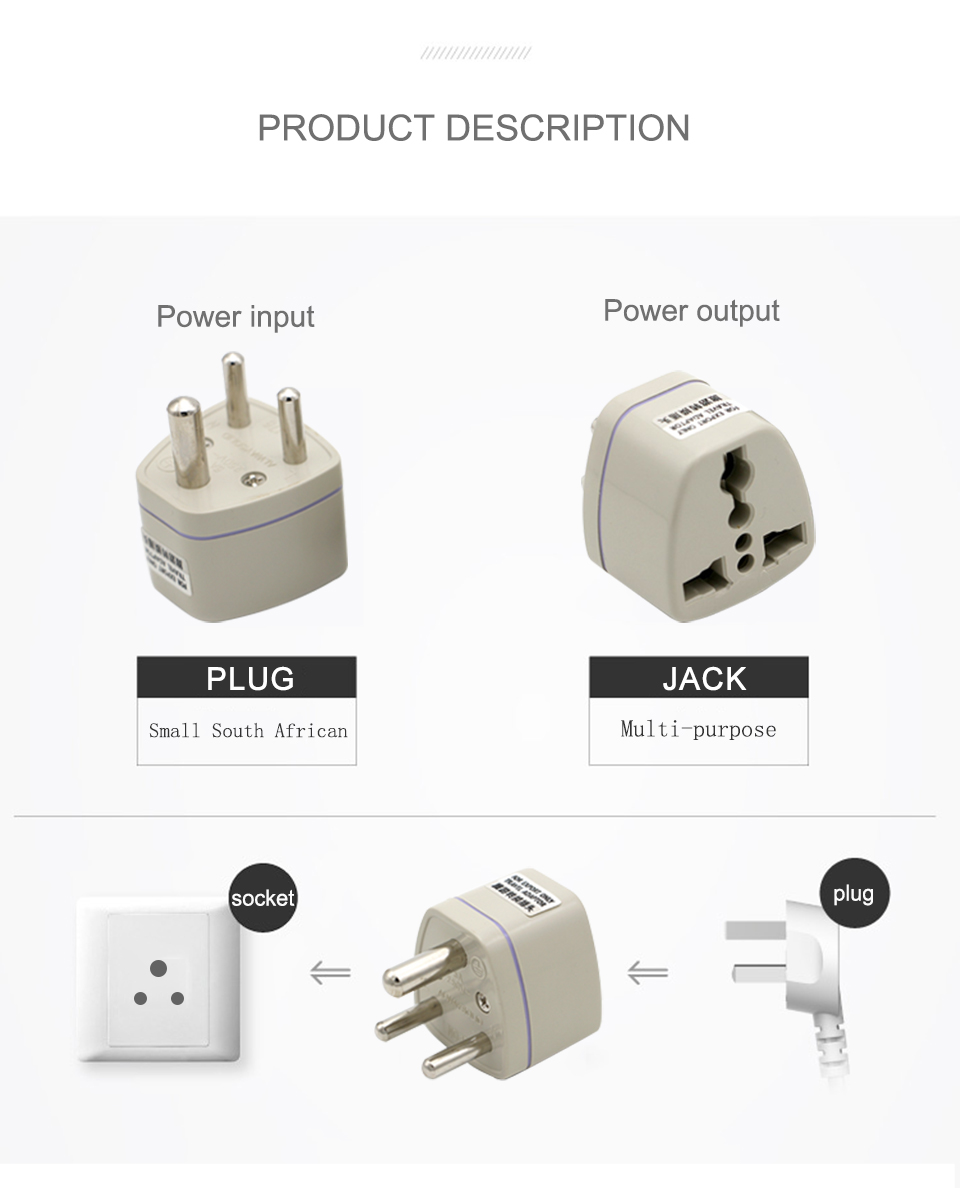 Universal UKUSEUAU to Small South Africa Plug AC Power Multi Outlet Adapter 3 pin Travel Converter Socket India travel (6)